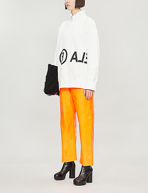 MM6 MAISON MARGIELA Oversized text-print cotton-jersey sweatshirt