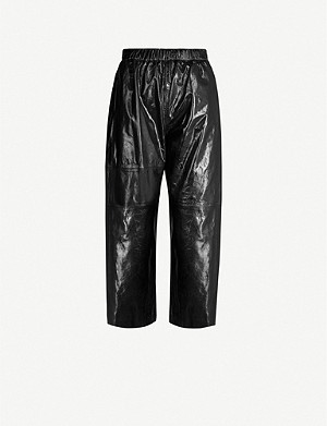 MM6 MAISON MARGIELA Embroidered-branding straight high-rise leather trousers