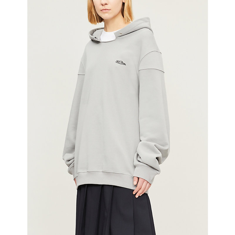 We11 Done Tops RAW-EDGED OVERSIZED COTTON-JERSEY HOODY