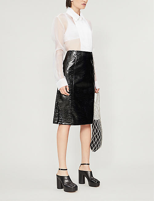 WE11 DONE Snake-embossed faux-leather midi skirt