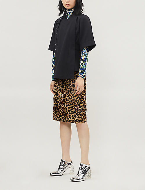 ROKH Leopard-print textured cotton-blend midi skirt