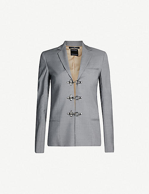 ROKH Clasp-fastening single-breasted wool blazer
