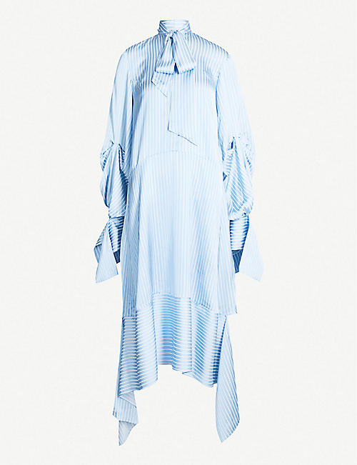 ROKH Draped-panel striped crepe shirt dress