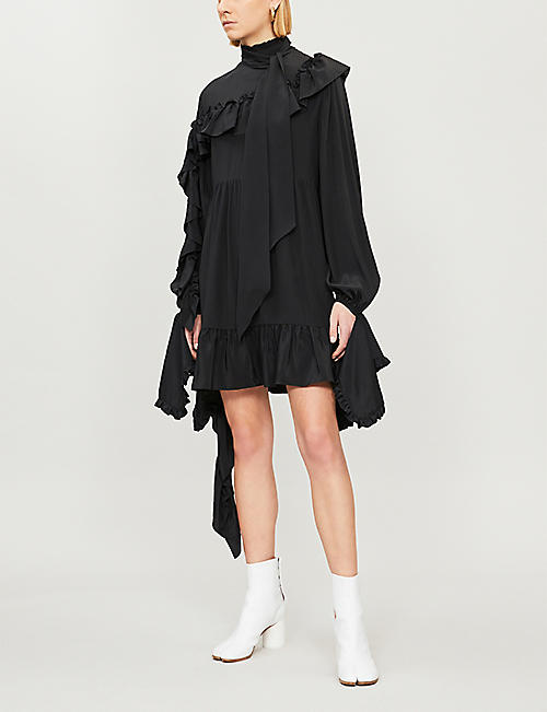 ROKH Ruffled neck-tie crepe dress