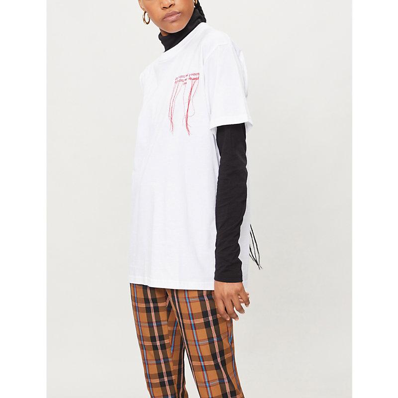 Rokh 文本-绣花 棉-球衣 吨-衬衫