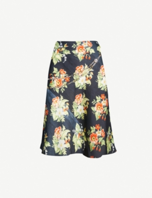 PACO RABANNE Floral-print woven skirt