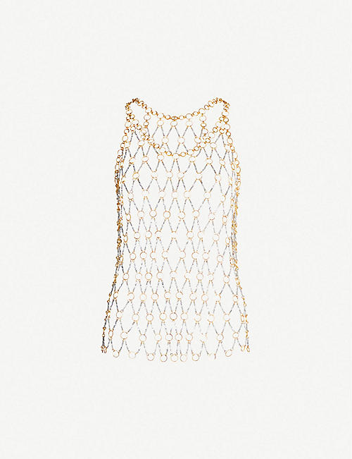 7f06b212ebda34 PACO RABANNE Gold and silver toned chainmail top