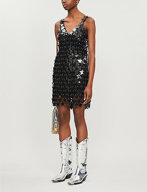 PACO RABANNE Star-shaped paillette-embellished PVC and chain mini dress