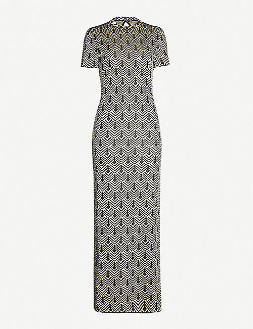 PACO RABANNE Geometric-pattern metallic-jacquard maxi dress