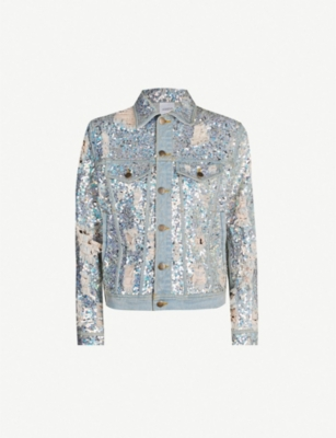 Ashish Jackets Ripped sequin-embellished denim jacket