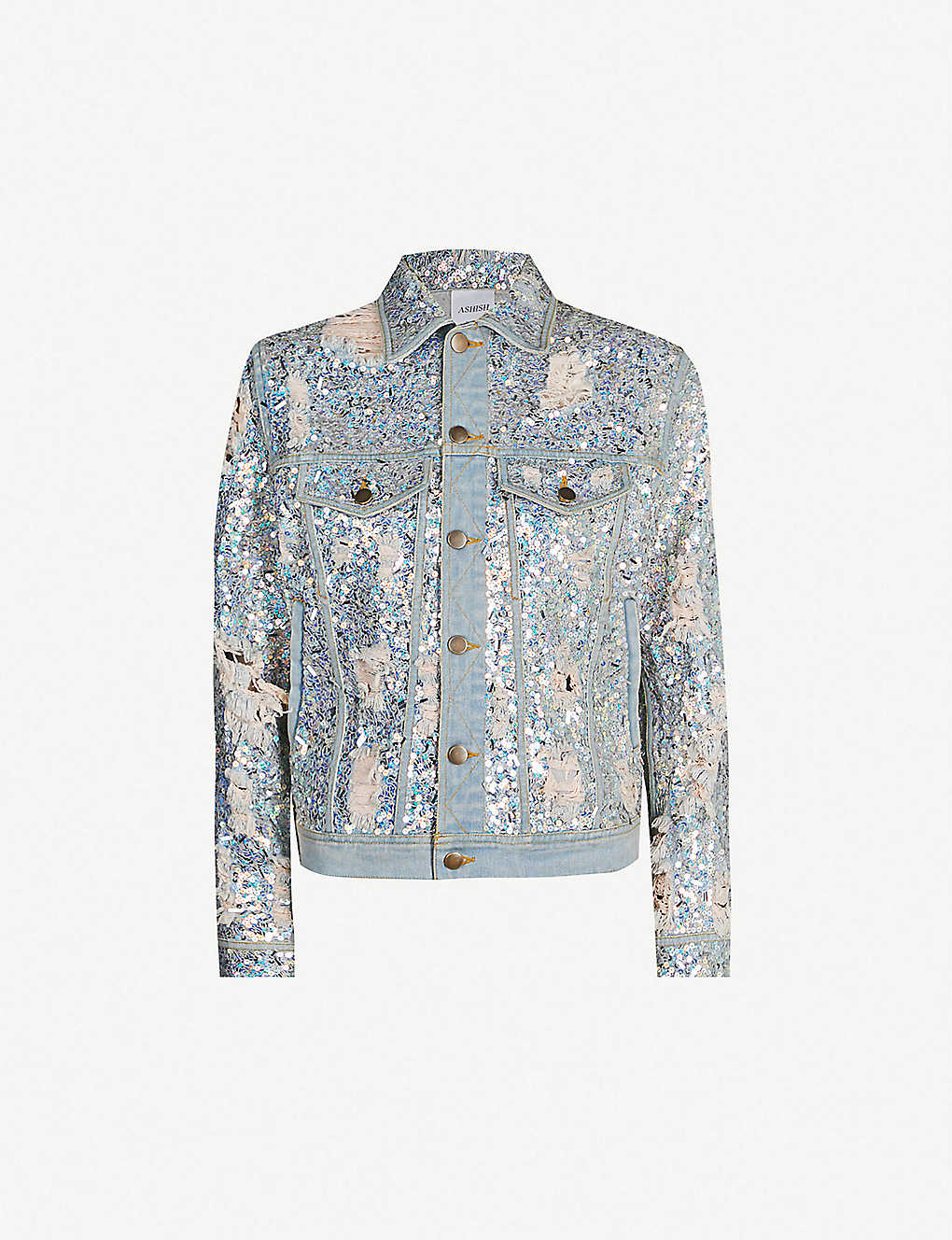 4423e3f7 ASHISH - Ripped sequin-embellished denim jacket | Selfridges.com