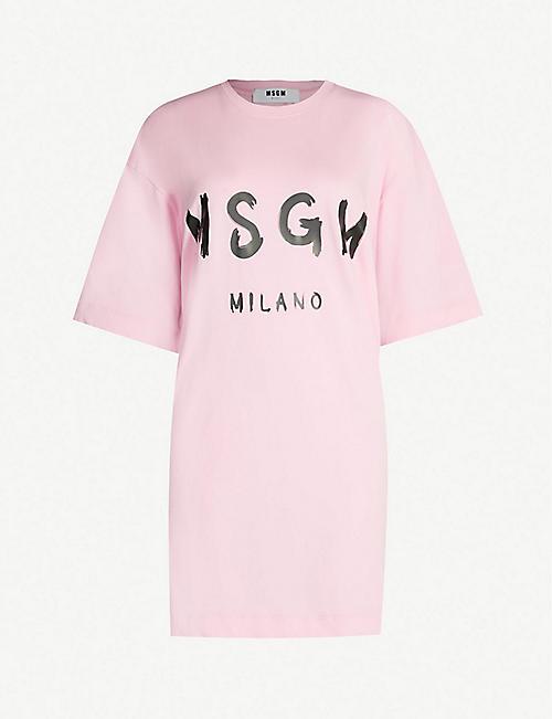d148e2bcf234 MSGM Oversized logo-print cotton-jersey T-shirt