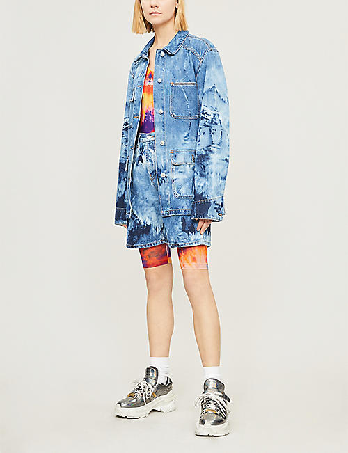 MSGM Tie-dye one-shoulder waterproof jersey body