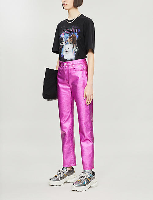 MSGM Cat-print cotton T-shirt