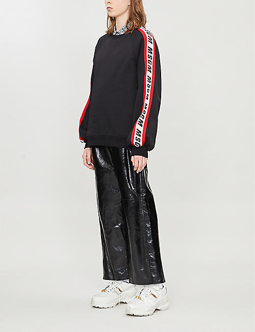 MSGM Logo-striped cotton-jersey sweatshirt