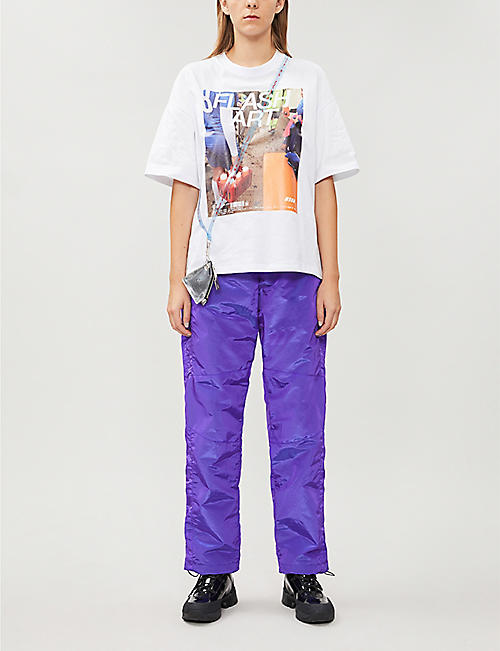 MSGM Graphic-print oversized cotton-jersey T-shirt