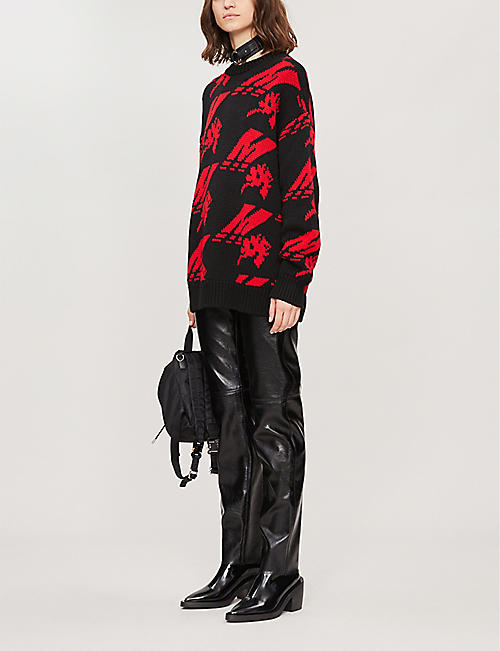 MSGM Abstract-print oversized wool-blend jumper