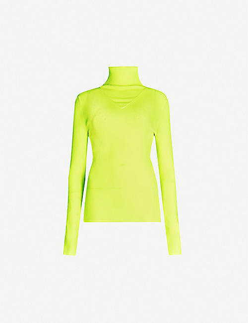 MSGM Ribbed turtleneck knitted top