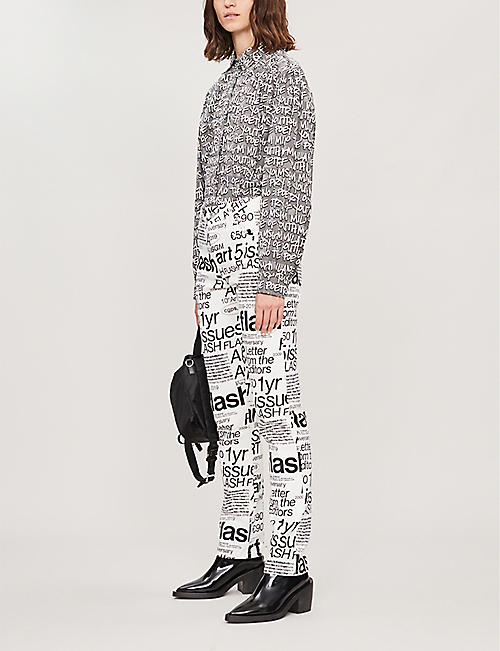 MSGM Text-print high-rise straight cotton trousers