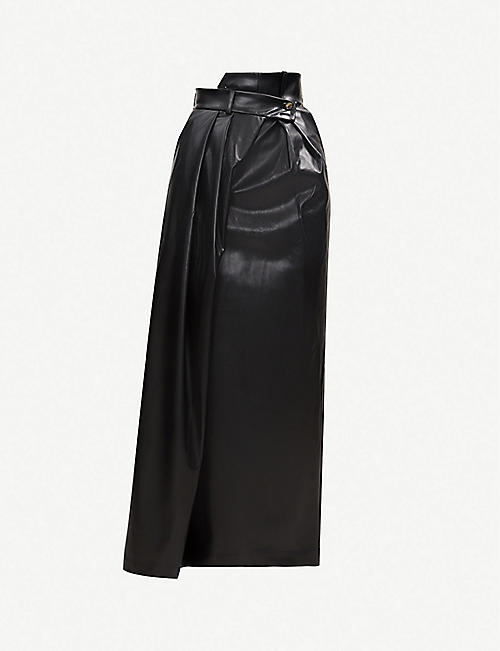 AWAKE Pirt asymmetric high-rise wide-leg faux-leather trousers