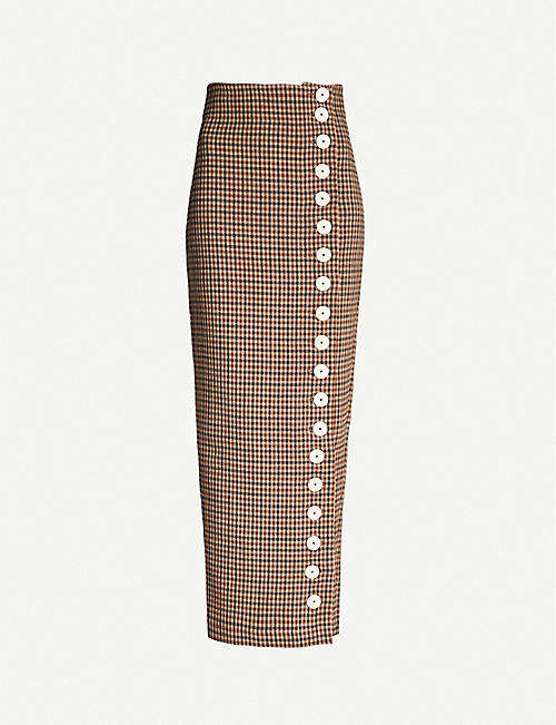 AWAKE Monroe high-waist checked wool-blend midi skirt