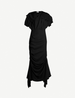 AWAKE Asymmetric draped-panel crepe dress