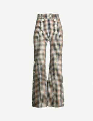 AWAKE Checked button-trim high-rise flared cotton and wool-blend trousers