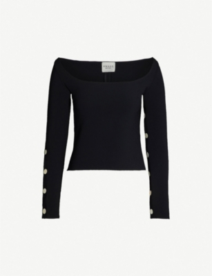 AWAKE Button-sleeve scoop-neck crepe top