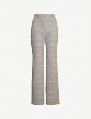 AWAKE Tonie high-rise checked cotton wide-leg trousers