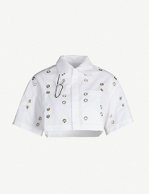908465d9eb8400 STUDIO ALCH Eyelet-embellished cropped shell jacket
