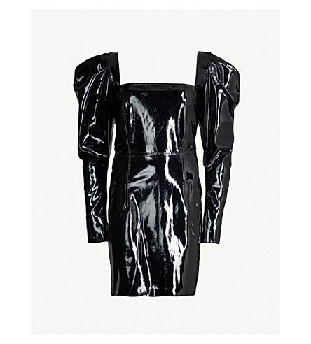 16 ARLINGTON Puffed-shoulder vinyl dress (Black