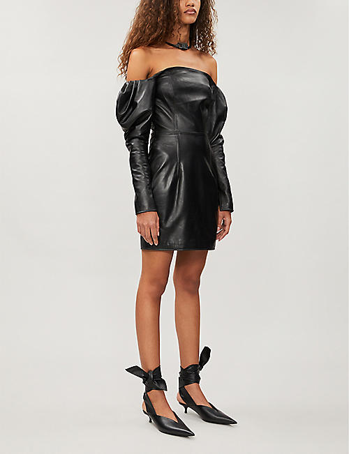 16 ARLINGTON Off-the-shoulder leather mini dress