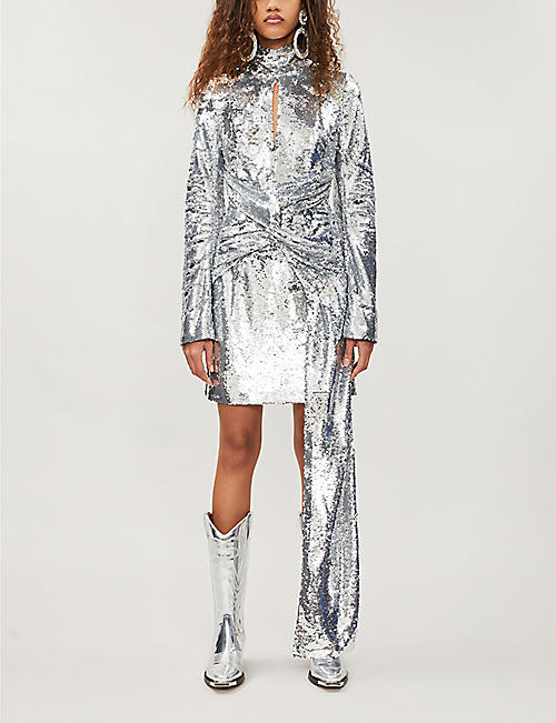 16 ARLINGTON Asymmetric sequinned mini dress