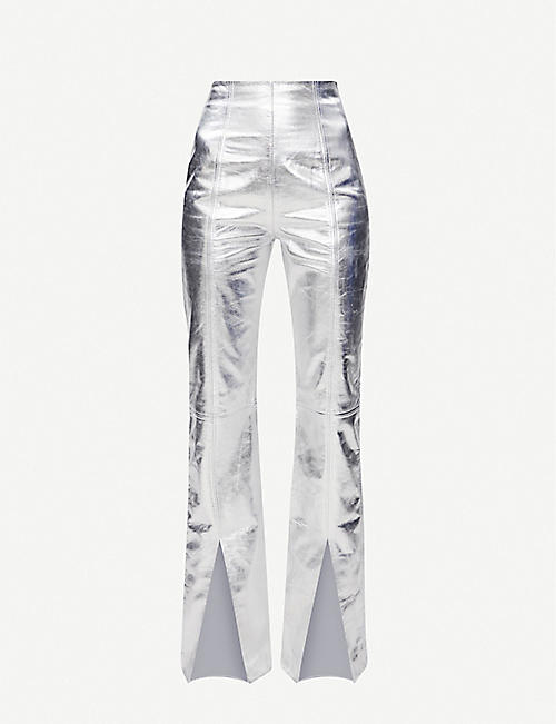 16 ARLINGTON: Metallic straight-leg leather trousers