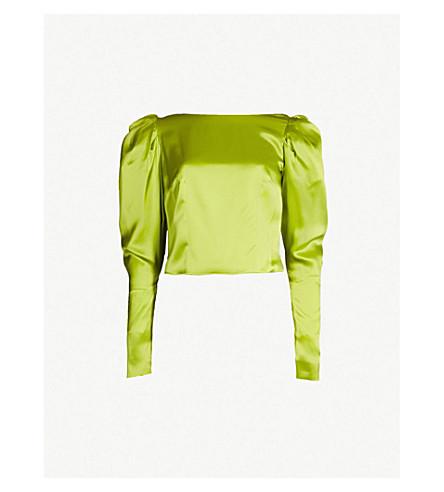 d564f6fceea23 16 ARLINGTON Puffed-sleeve silk-satin top (Lime+green