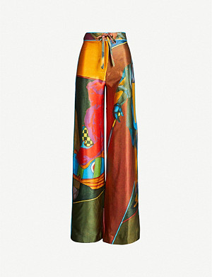 16 ARLINGTON Cher graphic-print silk trousers