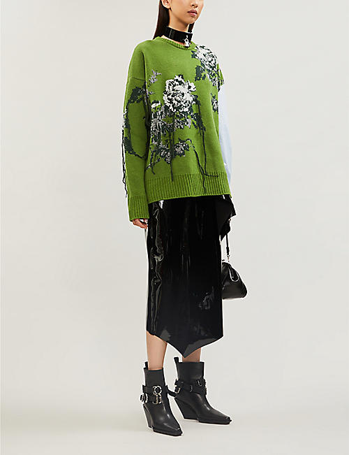 ACT N1 Floral-jacquard wool and cotton jumper