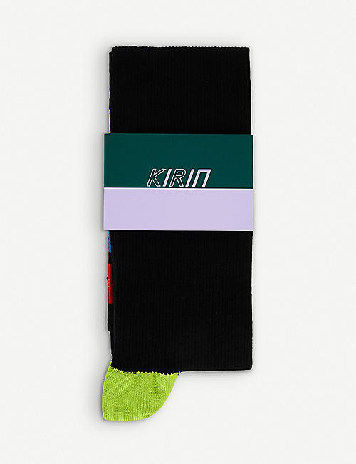 KIRIN PEGGY GOU Rainbow logo stripe-intarsia cotton-blend socks
