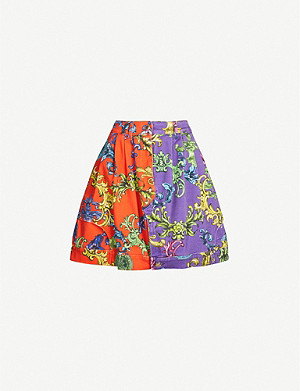 VERSACE JEANS COUTURE Lobster baroque-print stretch-denim mini skirt