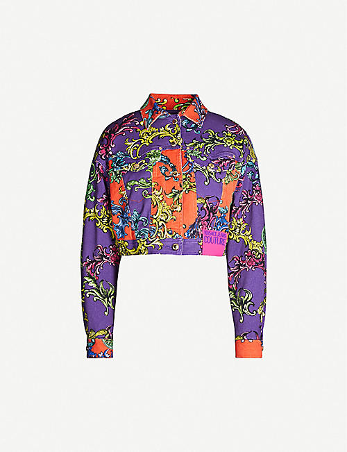 VERSACE JEANS COUTURE Barocco-print cropped denim jacket