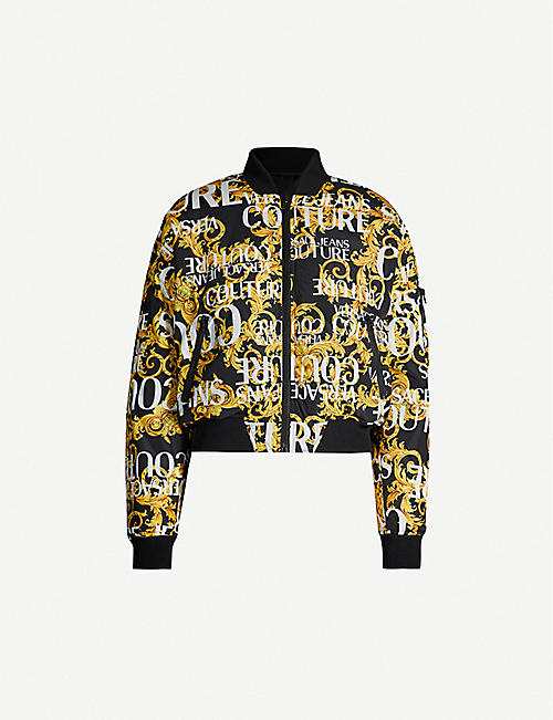 VERSACE JEANS COUTURE Logo-print padded shell bomber jacket