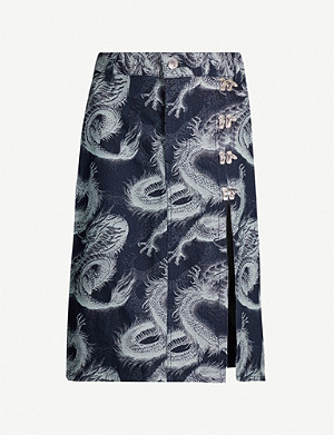 LEO Pele graphic-pattern denim midi skirt