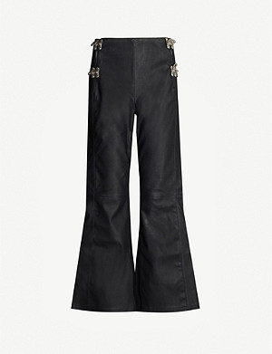 LEO Jupiter flared high-rise faux-leather trousers