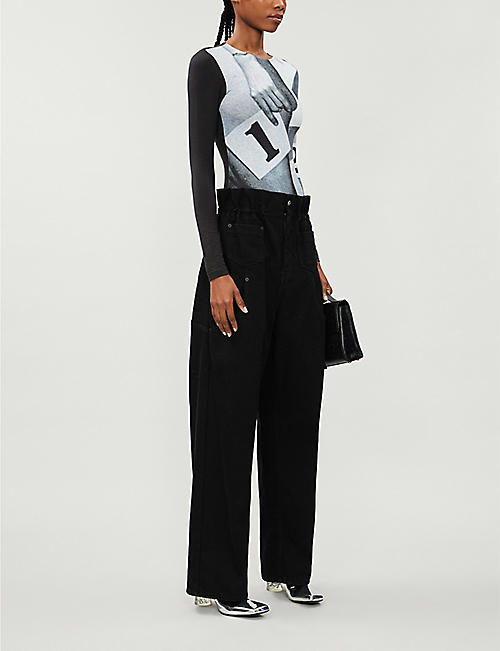 ARTICA ARBOX Paperbag-waist high-rise cotton-twill wide-leg trousers