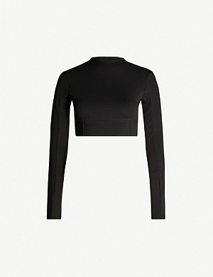ARTICA ARBOX Zip-neck cropped stretch-woven top