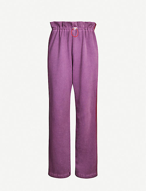 ARTICA ARBOX Paperbag-waist high-rise cotton-jersey jogging bottoms