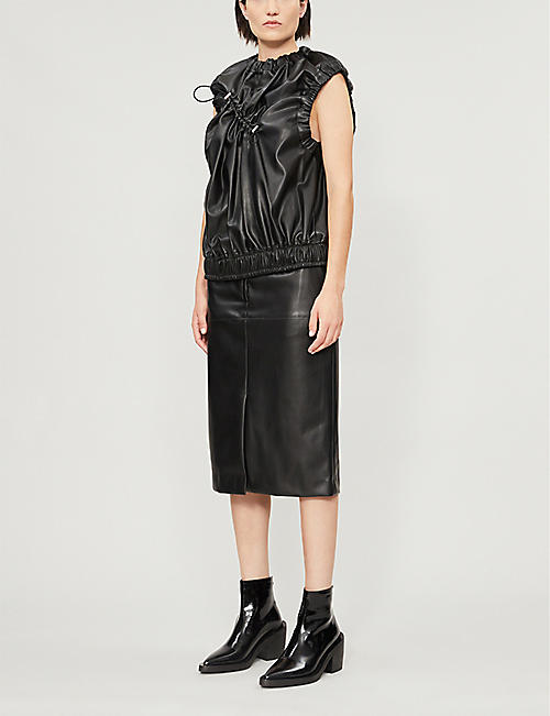 AKIKOAOKI A-line faux-leather skirt