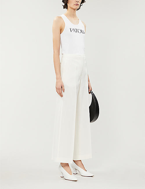 PATOU Logo-print sleeveless cotton-jersey top