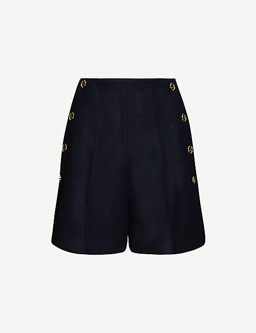 PATOU Iconic flared high-rise wool shorts