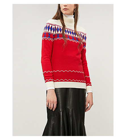 Fair Isle Wool Turtleneck Sweater - Red Size Xs